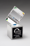 Clipped Crystal Cube on Brushed Silver Metal Base Achievement Awards