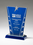 Constellation Series Glass Award - Blue Background and Chrome Plated Star Cobalt Glass Awards