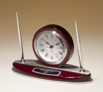 Rosewood Piano Finish Desk Clock and Pen Set with Silver Aluminum Accents Desk Clocks